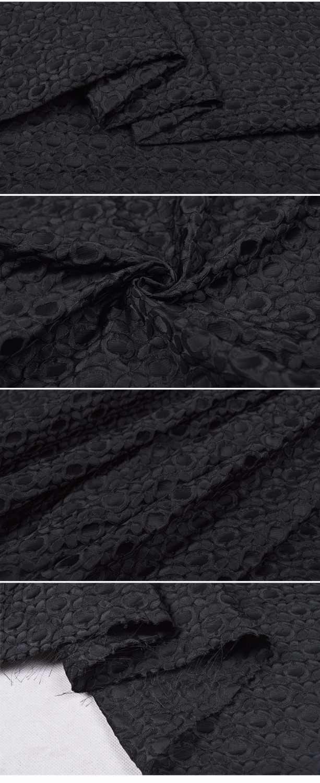 La francia Ha Importato fiori modello Geometrico nero tessuto jacquard, 3D filato tinto tessuto per le donne Vestito Da cappotto patchwork 150 cm larghezza