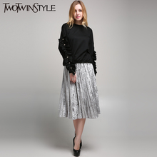 [TWOTWINSTYLE] 2017 Spring Korean Pleated Velvet Women's Skirt High Waist New Fashion Clothing 3 Colors
