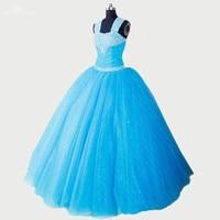 RSE276 High Quality Yiaibridal Crystal Beaded Shoulder Straps Aqua Blue Quinceanera Dresses