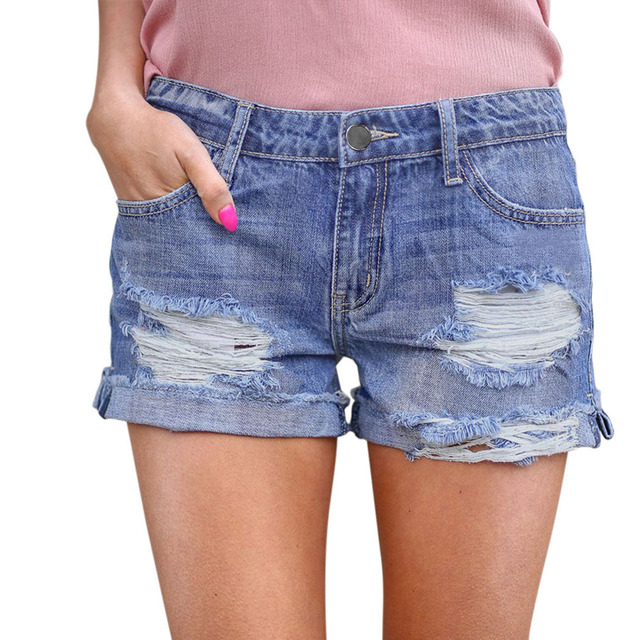 Summer New Large Size Short Jeans Women Broken Hole Casual Curling Jeans Short High Waist Rolled Edge Hot Pants Shorts Jeans