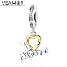 dd2896ce9 VEAMOR Authentic 925 Sterling Silver Letter I Love Husband Heart Dangle  Charms Beads Fit Pandora Bracelets DIY Jewelry Making