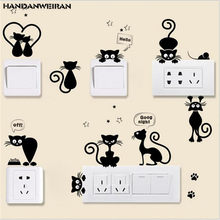 1PS Cute Black Cat Wall Sticker Switch Stickers Kindergarten On The Wall Stickers Home Decor For Kidroom DIY Decoration 25*70CM(China)