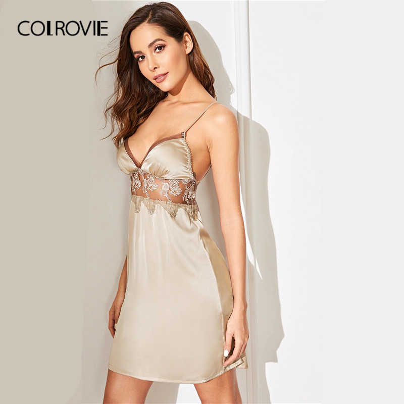 COLROVIE шампанское цветочное кружево вставить Атлас Cami сексуальное ночное платье 2019, женская обувь без рукавов пикантные пижамы женские ночные рубашк