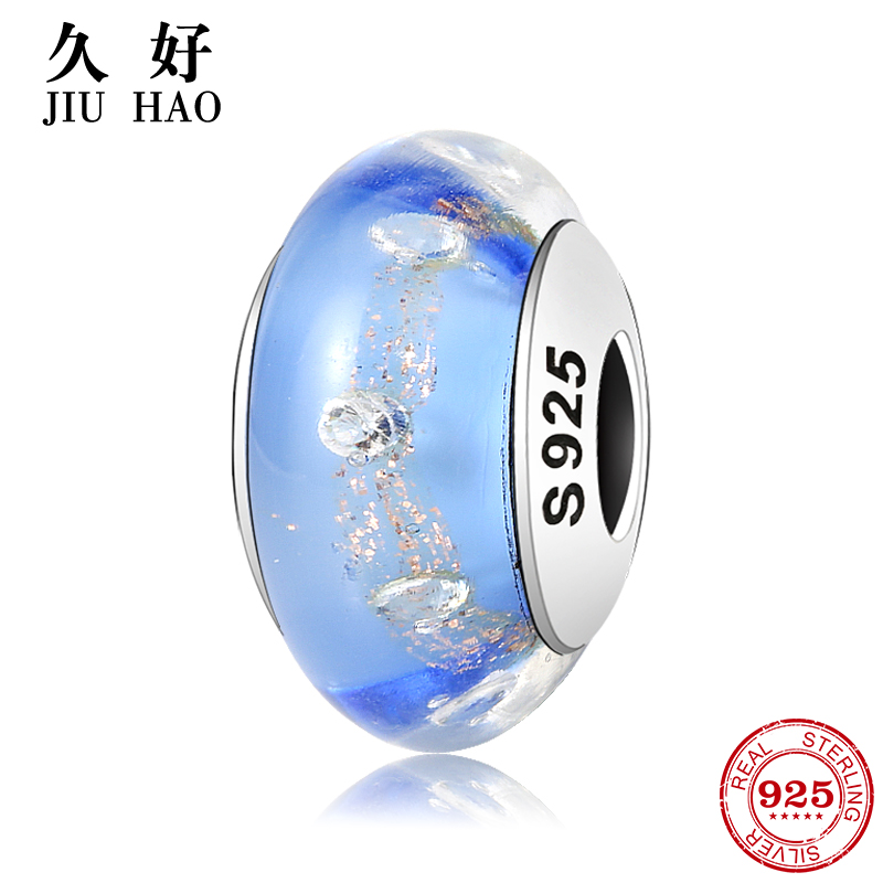 100% Authentic sparkling 925 Sterling Silver Blue Murano Glass Beads Fit Original Pandor ...