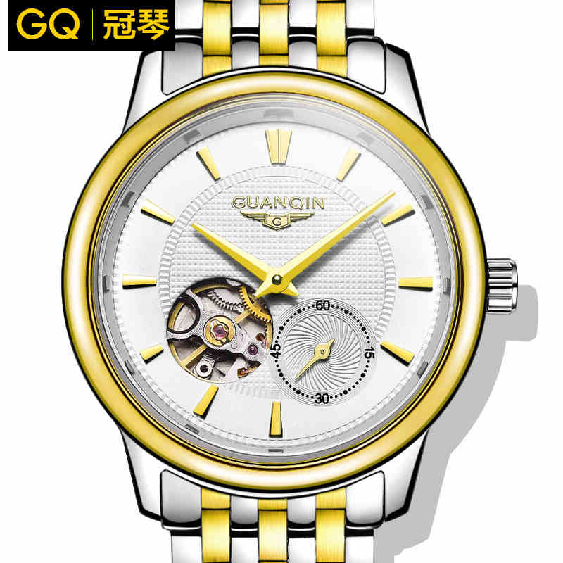2015 Watches Men Luxury Brand GUANQIN Business Wristwatches Men's Automatic Mechanical Watch Rose Gold Black brand new business watch men hollow engraving black gold case stainless steel watches skeleton mechanical automatic wristwatches