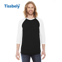 Adult 3 4 Sleeve Raglan Casual T Shirt Solid Color Patchwork Cotton Man Top Tees O