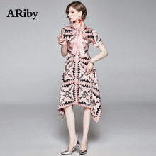 ARiby Women Elegant Slim Printed Dress 2019 Summer New Fashion Office Lady Short Sleeve Turn-down Collar A-Line Sashes Dresses long sleeved dress women 2019 spring summer new simple stripes turn down collar slim a line casual elegant dress midi s xl