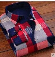 2017 Man Warm Shirt Plus Velvet Thick Long Sleeved Slim Winter Plaid Shirt Men S Clothing