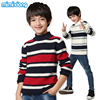 Boys Spring Striped Pullover Sweater Autumn White Boy Long Sleeve Turtleneck Knitwear Fashion Black Children Clothing