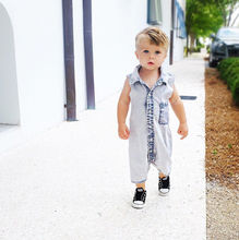 Denim Romper Trousers Toddler Kids Baby Boys Summer Clothes Jumpsuit Short Denim Newborn Sleeveless Romper Infant Clothes Outfit newborn baby boys xx printed sleeveless romper jumpsuit summer kids leisure outfits playsuit fashion infant toddler clothes