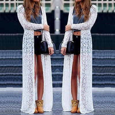 Women Ladies Summer Long Sleeve Beach Lace Cardigan Blouse Long Tops