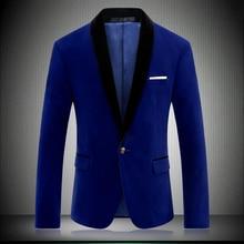 Gentleman Velour Blazer Men Slim Fit Mens Velvet Blazers Casual Suit Jacket Prom Stage Youth Clothing Large Size M- 4XL 8670