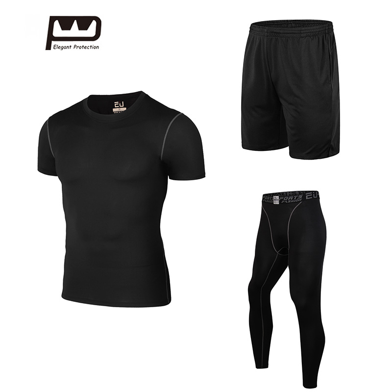 2017 New Mens Sport Suit Running Suits 3pcs Men Gym Clothing Workout Sports Suits Basketball Black Training Tracksuits 2017 women yoga sets 3 pieces t shirt bra pants fitness workout clothing women gym sports tops running slim leggings sport suit
