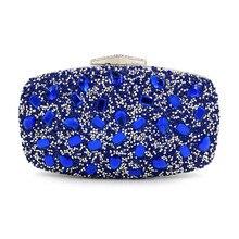Wedding Bridal Handbag Ladies party mini bag Fashion royal blue Rhinestone Evening Bags Women Clutch Purse Evening Clutch Bags