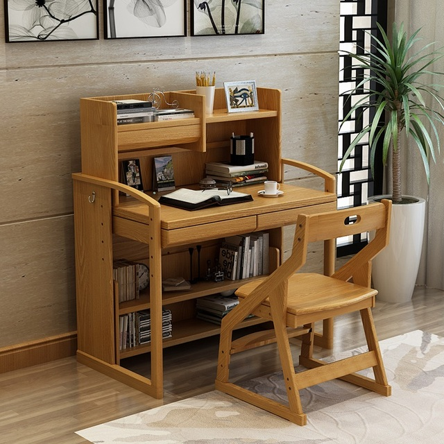 Real Child Can Lift Student Desk Study Table Solid Wood