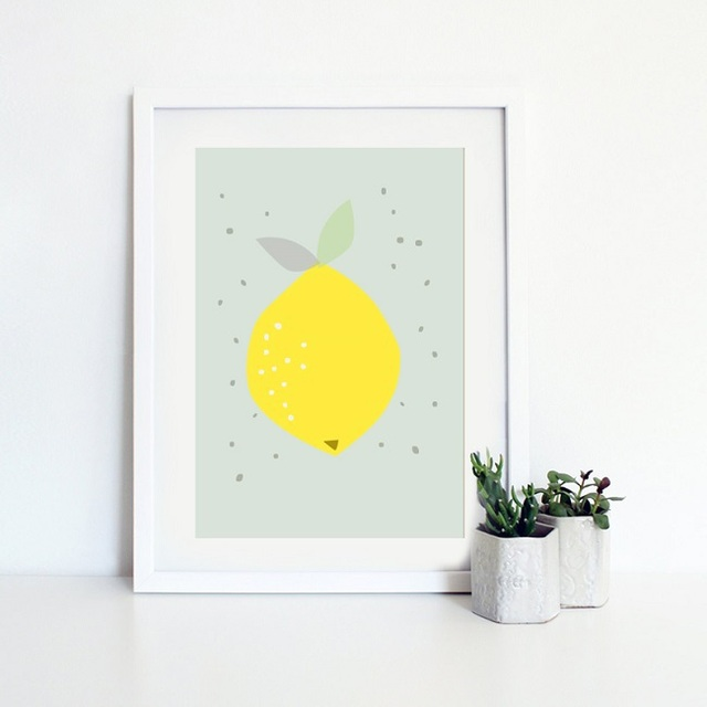 Cartoon Lemon Canvas Art Print Painting Poster, Wall Pictures for ...