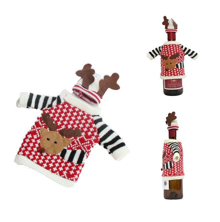 60pcs Cute Fashion Cloth Red Wine Bottle Cover Bags Deer Sweater Christmas Decoration Supplies Home Party Christmas Wen4495
