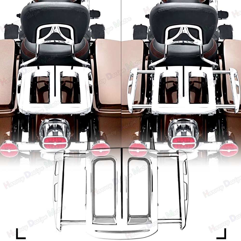 Adjustable Two-Up Chrome Luggage Rack For Harley Touring Street Glide Road King FLHX FLHR FLH/T 2009-2017 motorcycle chrome luggage rack for harley touring road king street glide cvo road glide street electra glide flhr 2009 2017 16