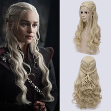 لعبة من عروش Daenerys Targaryen شعر مستعار تأثيري الشعر الاصطناعية طويلة متموجة التنين من الأم الباروكات هالوين زي حفلة للنساء