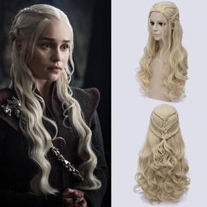 Image 1 - Game of Thrones Daenerys Targaryen Cosplay Parrucca Sintetica Dei Capelli Lunghi Ondulati Drago di Madre Parrucche Del Partito di Halloween Costume per Le Donne