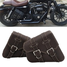 NEVERLAND Universal Motorcycle Bag Leather Left Right Side Saddle Bags Side Storage Tool Pouches For Harley bjmoto brown motorcycle pu leather left right side saddlebag saddle bag luggage bag tool bags storage for harley sportster