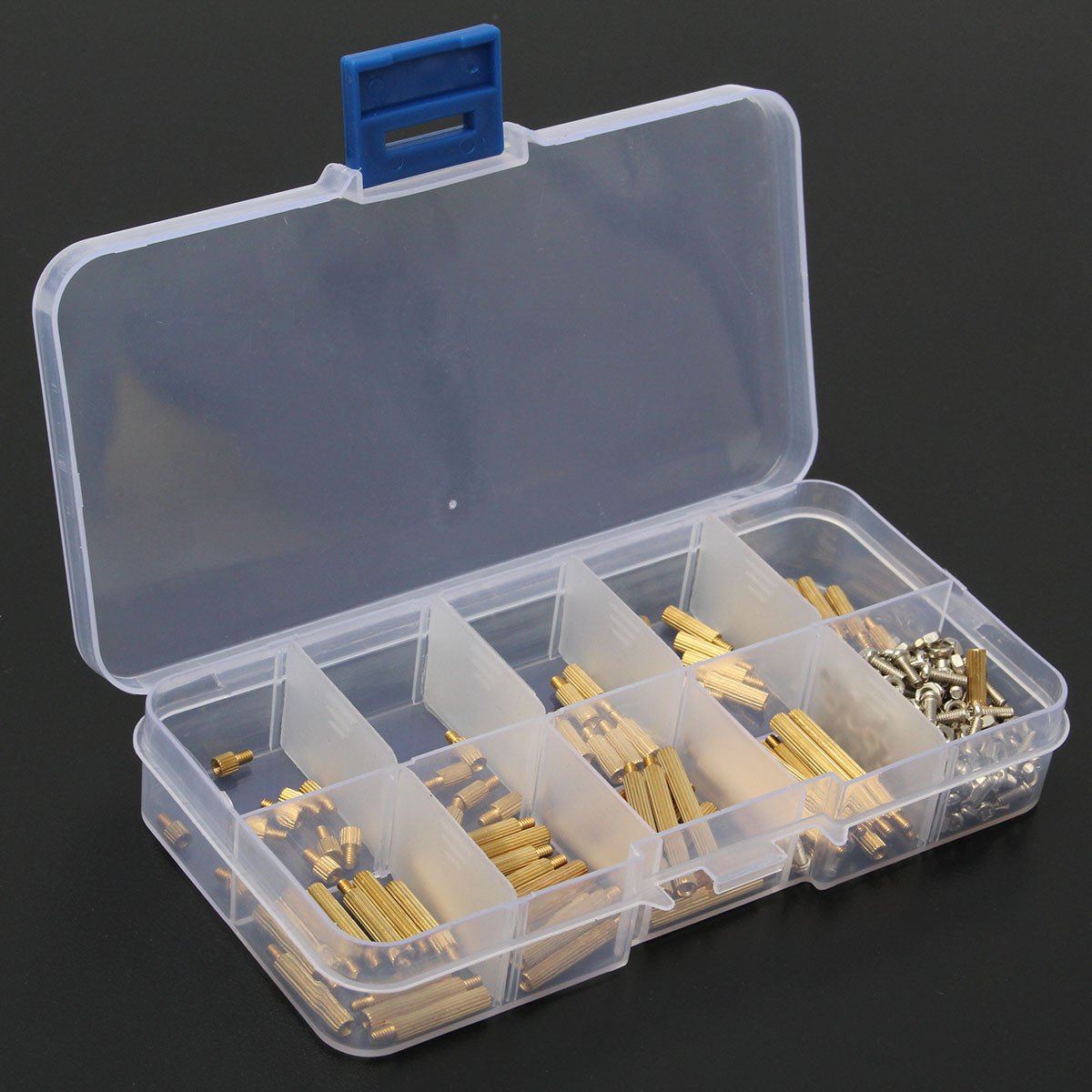 270Pcs <font><b>M2</b></font> Brass PCB Spacer Standoff <font><b>Screw</b></font> Nut Assortment Threaded Standoff Spacer <font><b>Screws</b></font> <font><b>M2x3</b></font>/5/8/10/12/15//18/20/25 Hardware image