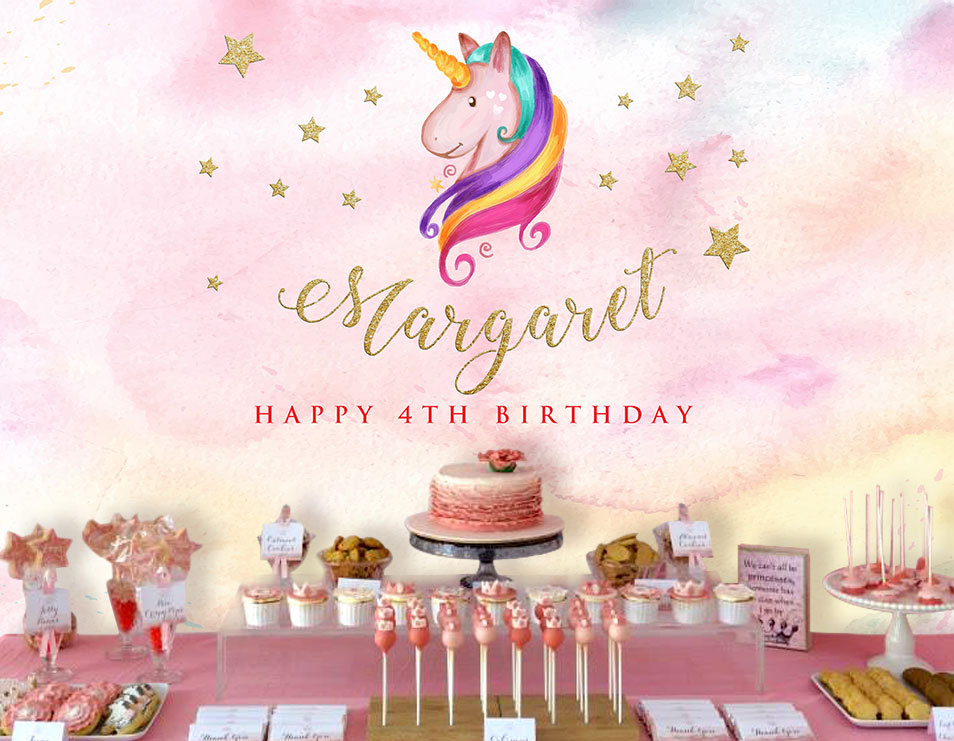 custom Unicorn star colorful clouds happy birthday backdrop High quality Computer print party backgrounds