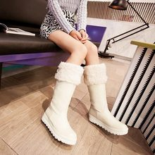 2014 New Sexy Women's Knee High Low Heel Fur Ladies snow Boots Platforms Winter Round Toe Shoes Belt buckle Cotton tall boots