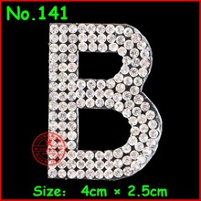 1 pcs/Lot English Alphabet Patches Letter Crystal Motif hotfix Rhinestones Patches For Children Women Wedding Clothes Applique(China)