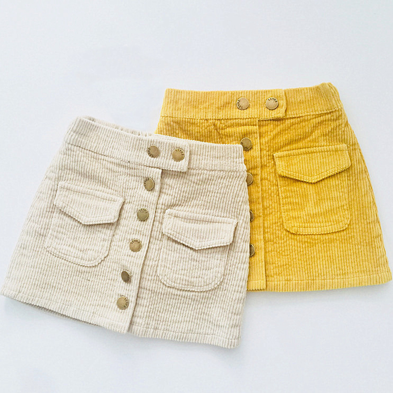 Baby Girls Skirt Autumn Winter Toddler Children Corduroy Skirts Cotton Gray Velvet Skirt Kids Clothes