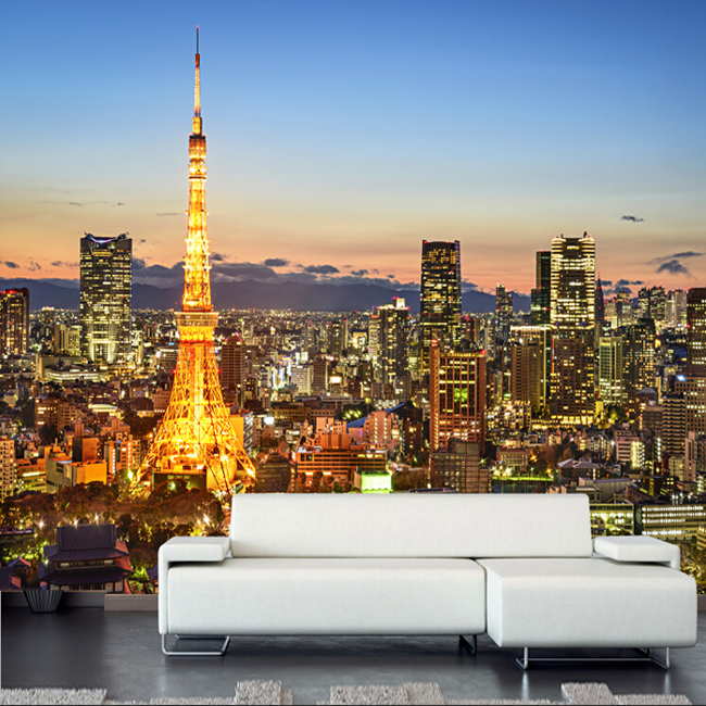 3D photo wallpaper 3D modern city Tokyo tower night landscape wallpaper living room bedroom sofa TV backdrop wall mural modern simple romantic snow large mural wallpaper for living room bedroom wallpaper painting tv backdrop 3d wallpaper