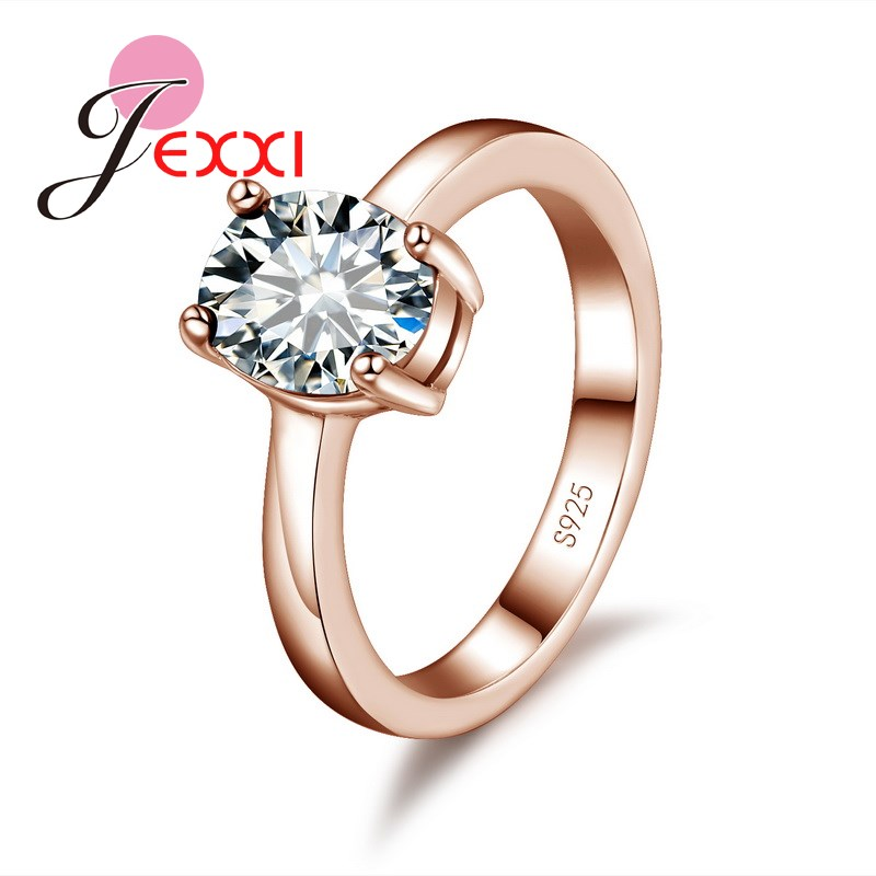 JEXXI Classic Design Rose Gold&Silver Smooth Circle Rings Mosaic African AAA Crystal Stone Pendant Rings for Women Bridal