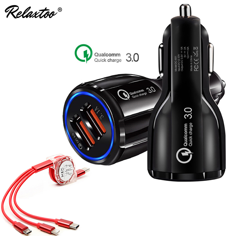 2 Prot USB LED Car Charger Quick Charge 3.0 Adapter For iphone huawei M