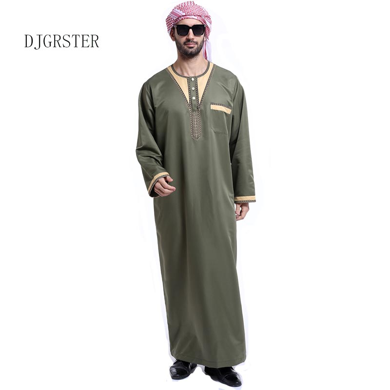 DJGRSTER High quality Muslim Islamic Clothing for men Arabia Jubba Thobe plus size dubai Men's Kaftan Abaya clothing 4 colors