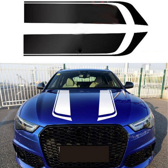 1 Pair Sports Engine Cover Stripe Car Stickers and Decals Universal Auto Styling Racing Vinyl Car Accessories