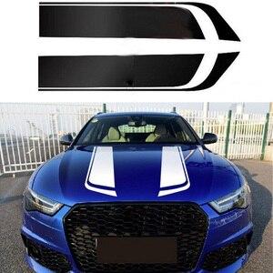 Image 1 - 1 쌍 스포츠 엔진 커버 스트라이프 자동차 스티커 및 데칼 범용 자동차 스타일링 레이싱 비닐 자동차 액세서리
