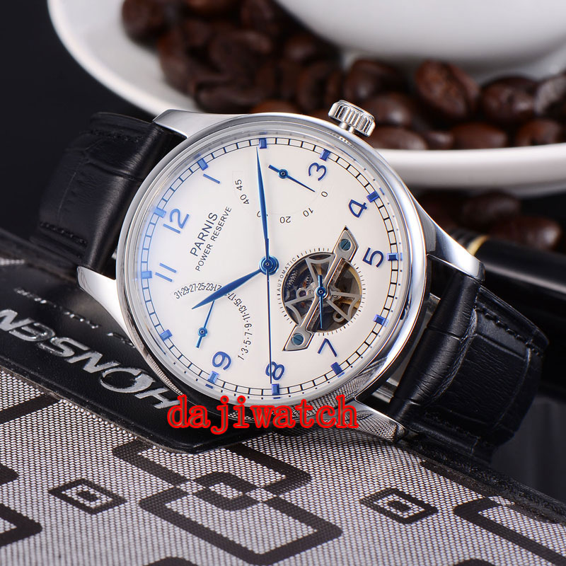 лучшая цена 43mm Parnis watch White Dial Power Reserve pointer seagull 2505 automatic Mechanical men's watch