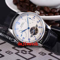 43mm Parnis watch White Dial Power Reserve pointer seagull 2505 automatic Mechanical men's watch