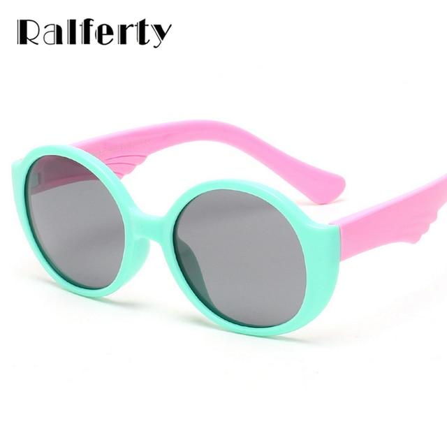 ac85098f125f9 Ralferty Criança Rodada Polarizada Óculos De Sol Do Miúdo Infantil Meninos  Menina TR90 TAC Polaroid Óculos