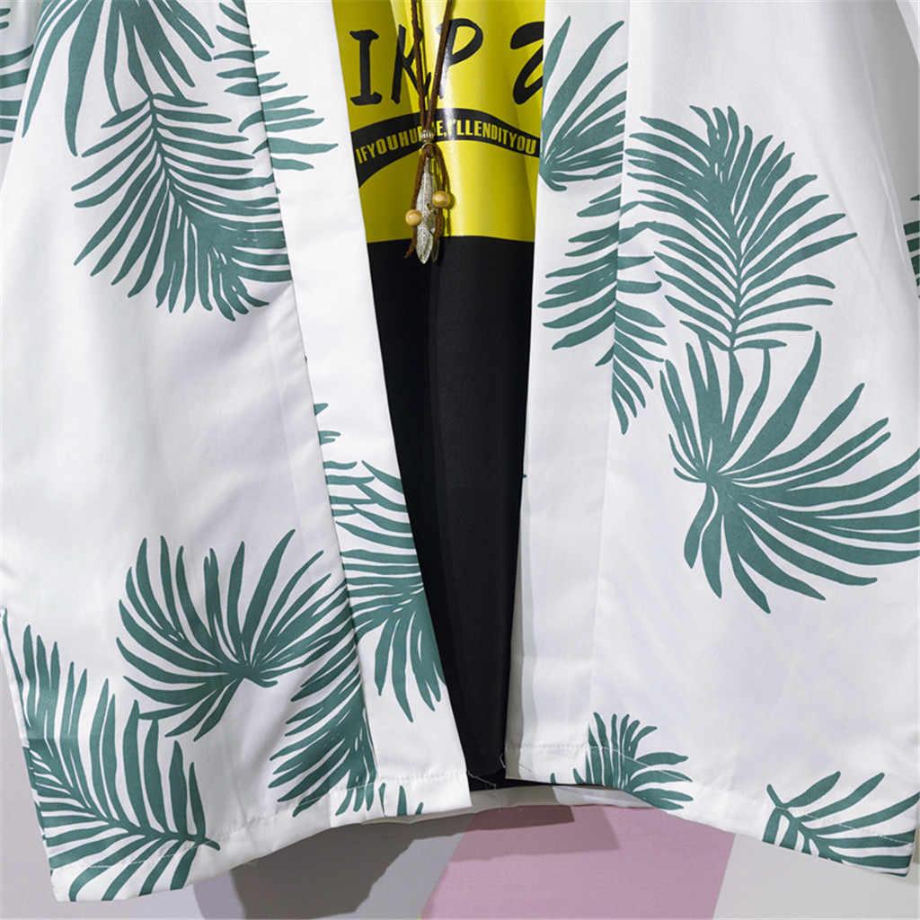 Summer Mens shirt Camisa Fashion Long-Sleeve kimono cardigan Casual Printing Beach Male Blouse Top Streetwear Camisa masculina