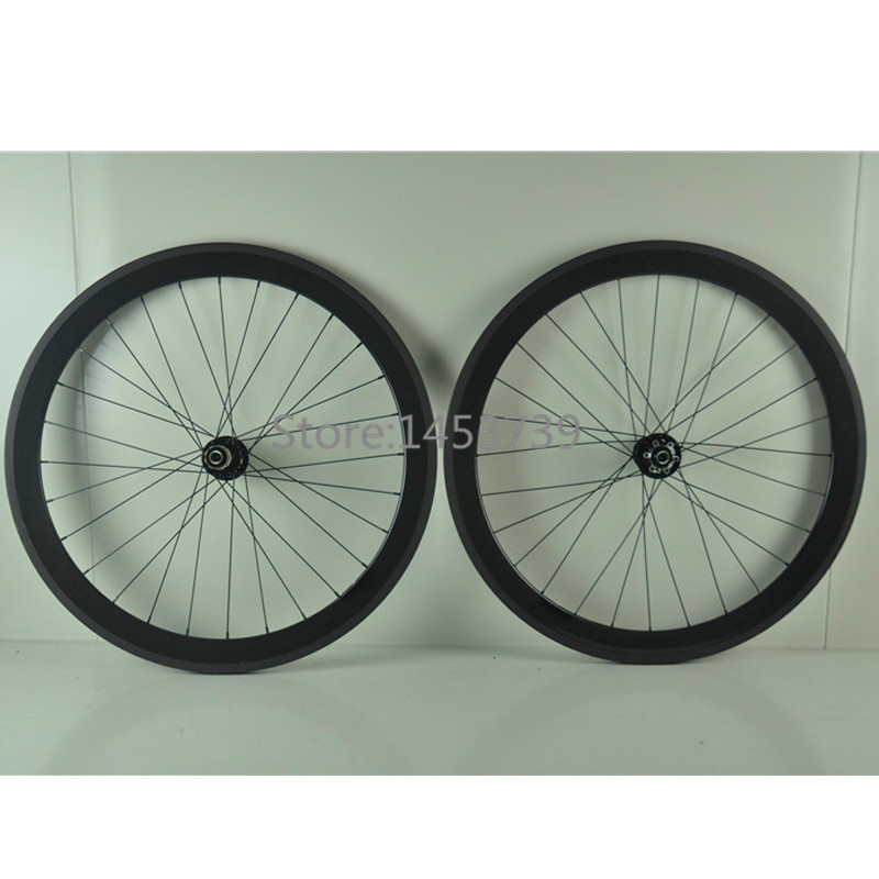 Fixed gear carbon wheelset 50mm clincher carbon wheel glossy finish for track bike wheels
