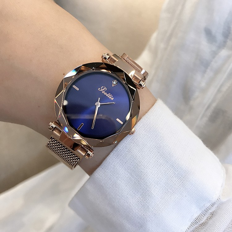 Image 5 - 2019 Luxury Brand lady Crystal Watch Magnet buckle Women Dress Watch Fashion Quartz Watch Female Stainless Steel Wristwatches-in Women's Watches from Watches