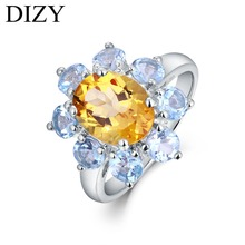 DIZY Solid 925 Sterling Silver Ring Natural Yellow Oval Citrine Blue Round Topaz Ring for Women Wedding Engagement Fine Jewelry helon solid 10k white gold pear cut 1ct blue topaz ring engagement wedding natural diamond ring for women classic fine jewelry