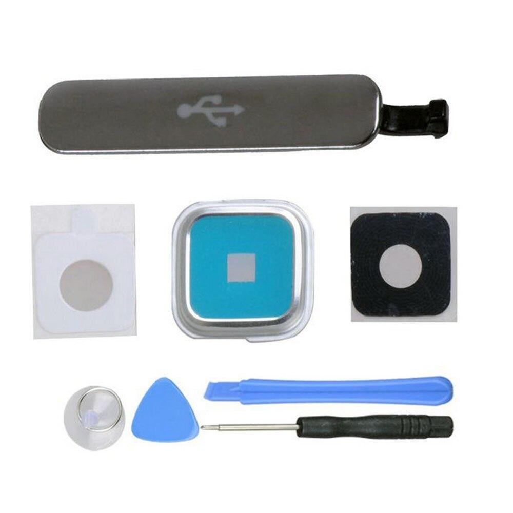 Pour Samsung Galaxy S5 SV i9600 G900 USB Chargeur Port Frais De Couverture + Caméra Verre Lens Cover + Outils, livraison Gratuite et le Numéro de Suivi