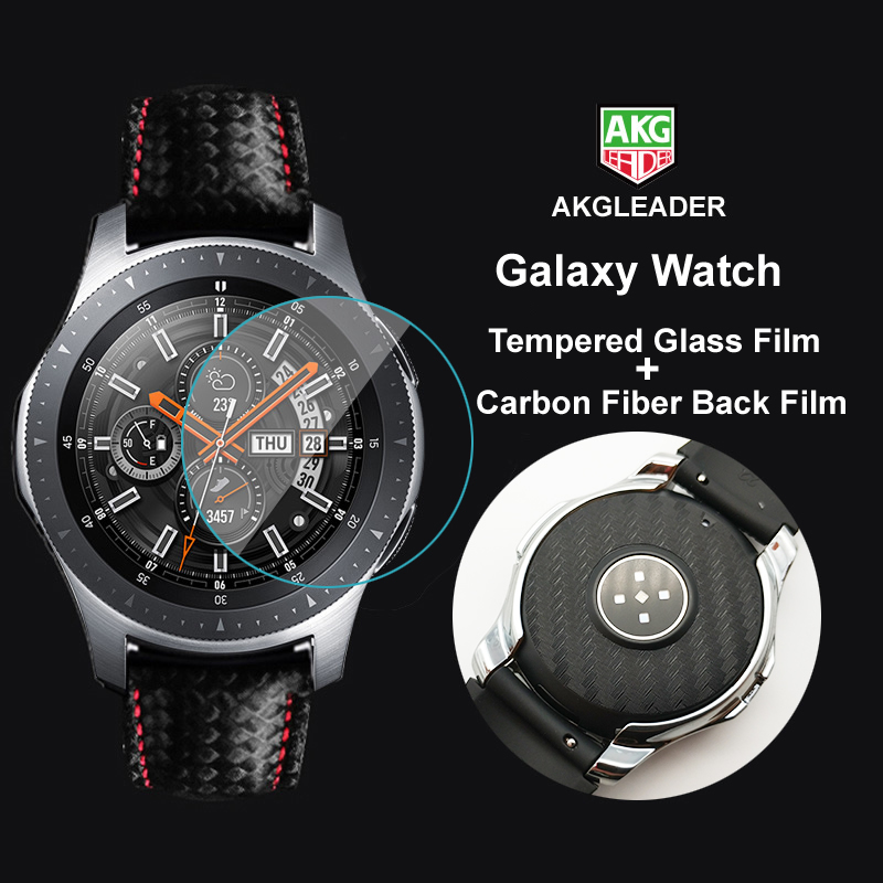 For Galaxy Watch 46mm Full Tempered Glass Film+Carbon Fiber Film For Samsung Galaxy Watch Screen Protective nice with you band rock protective tempered glass screen guard for samsung galaxy s5