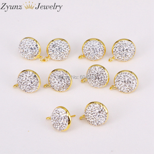 Image 3 - 20 pares ZYZ299 3823 pendientes de forma redonda de 14mm tachuelas, accesorios de pendientes de diamantes de imitación pavimentados, para hacer hallazgos de joyería