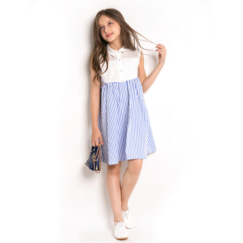 9c0cd22fc0 Aliexpress.com   Buy CHINGROSA Blue Striped Hollow Out Patchwork Girls  Dresses Beach Dress Casual Summer Dresses Kids Clothing vestidos infantil  from ...