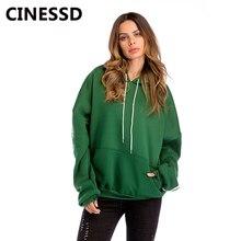 CINESSD Thicken Hooded Hoodies Sweatshirt Green Drawstring Bat Long Sleeves Plus Size Fleece Casual Loose Autumn Winter Hoodies