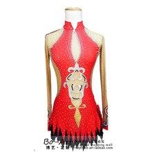 На фигурных коньках Танцы одежда для женщин конкурс Танцы Одежда для девочек пользовательские Лидер продаж спандекс на фигурных коньках одежда красный
