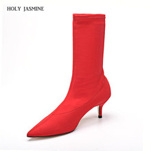 d9072e78f0b 2018 Autumn Women Sock Boots Stretch Fabric Slip On 6.5CM High Heels Pointed  Toe Ankle